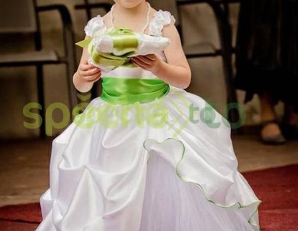 869ce41a595a Slavnostní bílé šaty se zelinkavými detaily pro družičku na svatbu  vel.92-98