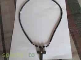 korálky s křížkem - černý, leštěný onyx , Modní doplňky, Šperky a bižuterie  | spěcháto.cz - bazar, inzerce zdarma