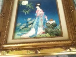 Starý japonský obraz s gejšou , Hobby, volný čas, Sběratelství a starožitnosti    spěcháto.cz - bazar, inzerce zdarma