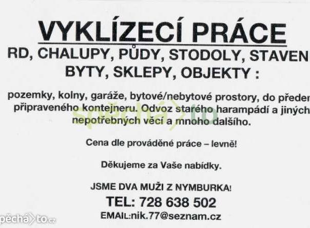 Vyklízecí práce!!!, foto 1 Nabídka práce, Řemeslné práce | spěcháto.cz - bazar, inzerce zdarma