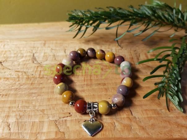 Náramek z minerálů - Jaspis mookait srdíčko, foto 1 Modní doplňky, Šperky a bižuterie | spěcháto.cz - bazar, inzerce zdarma