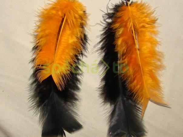 peříčkové náušnice černá  oranžová , foto 1 Modní doplňky, Šperky a bižuterie | spěcháto.cz - bazar, inzerce zdarma