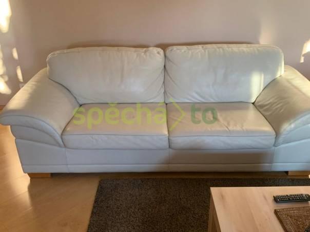 Bílá kožená sedačka/gauč, foto 1 Bydlení a vybavení, Sedací soupravy, křesla   spěcháto.cz - bazar, inzerce zdarma