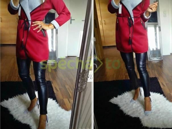Luxusní kabátek s páskem barva italská bordo červená 9a9de1bb90