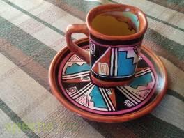 malovaný hrneček s talířkem mexickou malbou , Hobby, volný čas, Sběratelství a starožitnosti  | spěcháto.cz - bazar, inzerce zdarma