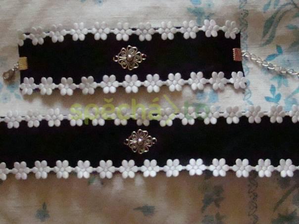 černý obojek náhrdelník náramek kytka , foto 1 Modní doplňky, Šperky a bižuterie | spěcháto.cz - bazar, inzerce zdarma